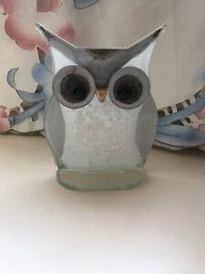 "Opalescent Glass Owl Ornament Design By Pawtowska 6.5"" Tall"
