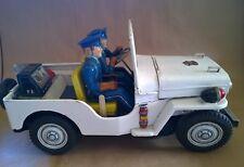 Vintage 60s TN Nomura Tin Toy Bat.Op. Jeep POLICE PATROL Japan Big Size 14 inch