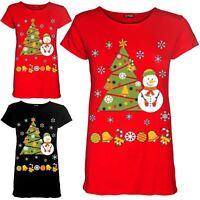 Womens Christmas Cap Sleeve Snowman Tree Ribbon Ladies Stretchy T Shirt Tee Top