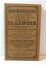 Rare 1887 Illinois state pocket map, Rand McNally; Railroad system, old, history