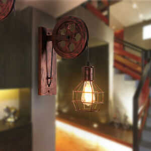 Wall Lamp Sconce Light Lifting Pulley Retro Industrial Suspension Pendant E27