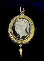 Antique 18CT Brooch pendant cameo Shell Greek engravings