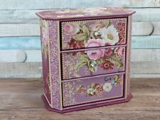 Purple floral jewellery box with drawers trinket box
