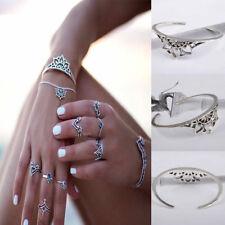 Vintage Bohemina Hollow Flower Cuff Bangle Open Bracelet Jewelry