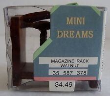 NOS Mini Dreams Dollhouse Miniature Walnut Magazine Rack Furniture Vintage