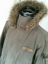 Parka Schott Mens L with zip in fleece Flyers man green mod /scooter boy