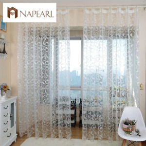NAPEARL American style jacquard floral design window curtain sheer for bedroom t