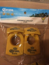 Corona Extra CoronaRita Drink Clip Yellow 4 Pack Beer Cerveza Beverage Cup (NEW)