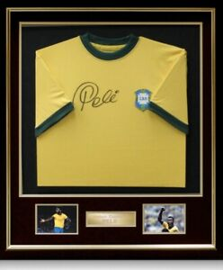 Pele Signed and Framed Shirt Display Certificate