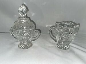 Vintage Crystal Cut Glass Creamer and Covered Sugar Bowl