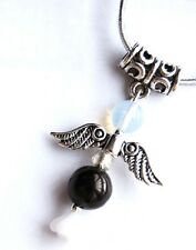 Jet Crystal Guardian Angel Pendant on Silver Cord - Protection