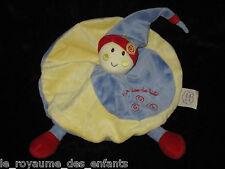 Doudou plat rond Lutin avec 2 jambes un rêve de bébé CMP bonnet bleu jaune rouge