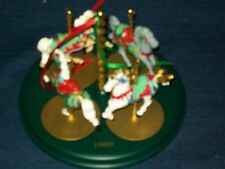Hallmark 1989 CHRISTMAS CAROUSEL HORSES Christmas ORNAMENTS w/Stand