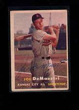 1957 TOPPS #44 JOE DeMAESTRI AUTHENTIC ON CARD AUTOGRAPH SIGNATURE AX1954