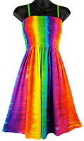 Rainbow Tie Dye Dress Multi Color Summer Beach Vertical Stripes NEW Womens S M L