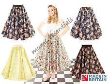Floral 1950's Fancy Dress VINTAGE Retro Swing Circle Skirt BARDOT top option UK