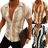 Men Slim Fit Striped Short Sleeve V Neck T-shirt Casual Shirts Top Summer Blouse