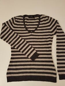 100% CASHMERE STRIPED FITTED SWEATER - size 8
