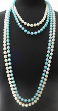 LADIES CHUNKY MULTI LAYER LONG BEADED NECKLACE SIMPLE ELEGANT (ST77)