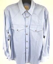 92b4637f Men's STUBBS long sleeve button down western shirt BLUE sz small NEW