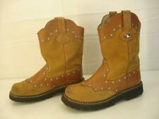 Womens 7.5 M Roper Chunk Tan Tooled Leather Studded Cowboy Western Cowgirl Boots