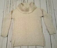 COLDWATER CREEK Cream Nylon, Modal,Cashmere Cowl Neck Cable Knit Sweater XS MINT