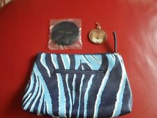 New Estee Lauder Blue Patterned Makeup Bag with mirror + keyring