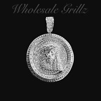 14K White Gold Plated iced JESUS PIECE HipHop Pendant Simulate Diamond out Charm