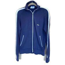 Vintage Izod Lacoste Blue Maroon White Acrylic Jacket Size M Full Zip FLAW*