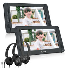 """10.1"""" Dual Screen Portable DVD Player Region Free Rechargeable USB SD+2*Headsets"""