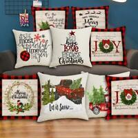Christmas Pillow Covers Farmhouse Decorative Cotton Linen Throw Pillow Cases