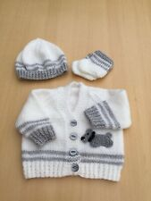 CUTE Hand Knitted Baby White/Grey Cardigan With Scottie Dog Motif Newborn