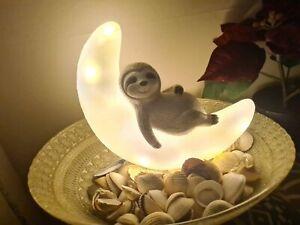 Solar Sloth On Moon Led Lights Ornament Patio Garden Deck Lawn Display Statue
