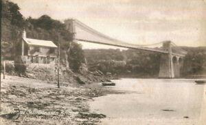 1910s postcard Menai Suspension bridge from the Anglesey shore Llanfairpg