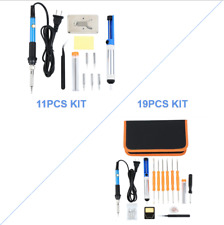 Electric Soldering Iron Gun Adjustable Temperature 60W Welding Tool 11/19pcs set
