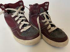 Osiris High Top Tennis Shoes Burgundy Leather + Grey Felt Boy's 13M