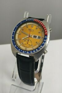 SEIKO 6139-6002 Pogue Automatic Chronograph  Yellow Dial 70s Japan