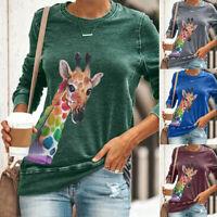 Womens Casual Long Sleeve Giraffe Print Jumper T-shirt Ladies Loose Blouse Tops