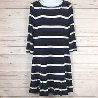 White House Black Market Blue, Black, White Striped 3/4 Sleeved Dress Medium