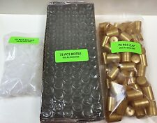72 Bottles PLAIN 1/3 oz 10ml Clear Glass Roll on With Plastic GOLD Cap & Roller
