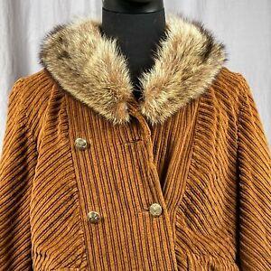 Vintage Sears Jr Bazaar Velours Fausse Fourrure Femmes Taille 11/12 Veste Union