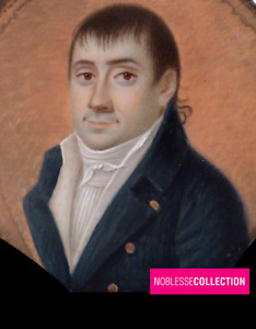 ANTIQUE EARLY 1800 FRENCH SCHOOL MINIATURE HAND PAINTED WATERCOLOR  Man Portrait
