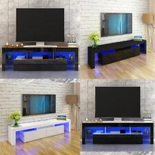 200cm RGB Moern Furniture TV Unit Cabinet Stand Doors LED Light With Drawer UK