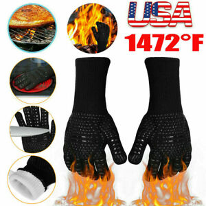 2Pack 1472℉ Extreme Heat Resistant Cooking Oven Gloves Silicone Grill BBQ Mitts