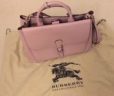 NEW Burberry Large Saddle Bag in Derby Leather Bonded - Pale Orchid (NWT)