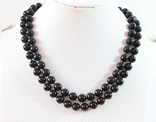 NEW 8 mm natural black agate Beads Gemstone Necklace 36 ""