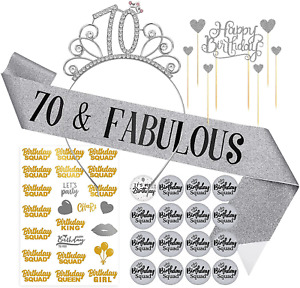 Silver 70th Birthday Sash Crown Tiara - 70 Birthday Buttons Pins Gifts for Women