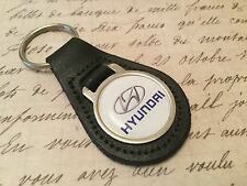 Hyundai Quality Black Real Leather Keyring  Tuscon Santa Fe i10 20 30 40
