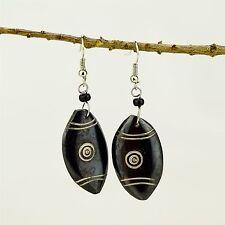 Handmade African Jewelry Maasai Shield Shaped Brown Bone earrings 487-134