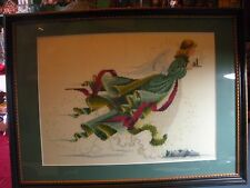 """'ANGEL' Large Needlepoint.Wood Framed & Matted Under Glass  - 23 1/2"""" X 17 1/2"""""""